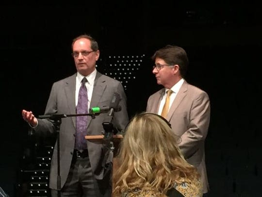Lawyers Jerry Buting, left, and Dean Strang speak in Nashville, Tennessee.