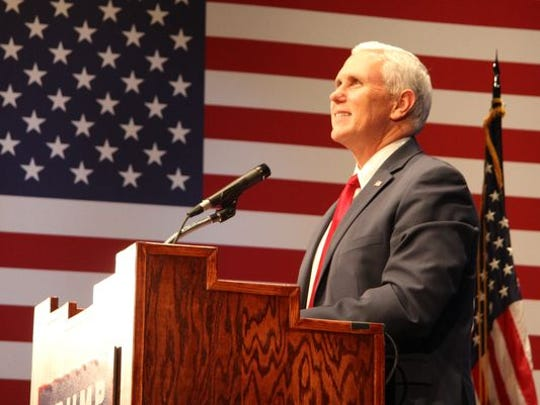 Mike Pence speaking at a rally in Roswell earlier this week.