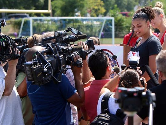 Old Bridge's Laurie Hernandez received an Olympic-sized welcome-home party Saturday.