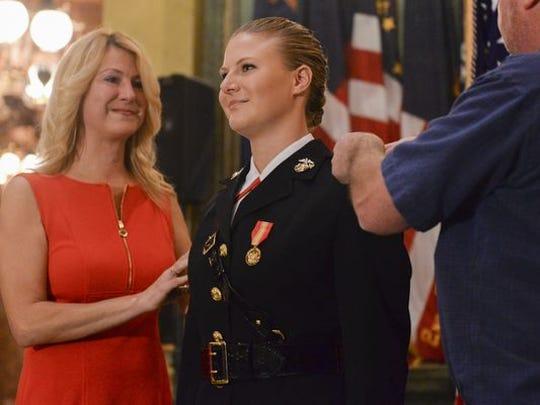 Marine Corps 2nd Lt. Elizabeth Vincent gets her gold