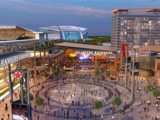 A rendering of Texas Live!, and entertainment and retail development in Arlington, Texas, near the Texas Rangers and Dallas Cowboys stadiums. A similar concept is being proposed for Memphis' Mid-South Fairgrounds.
