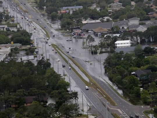 Areas of Gulf Breeze were flooded after severe storms in April 2014.
