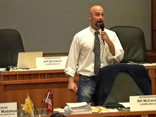"""Rep. Bill McCamley, D-Las Cruces, protests a middle-of-the-night hearing on a death penalty bill. """"Not only is this a slap in the face to most people in the state, it is an even bigger one to the people in my community,"""" he said."""