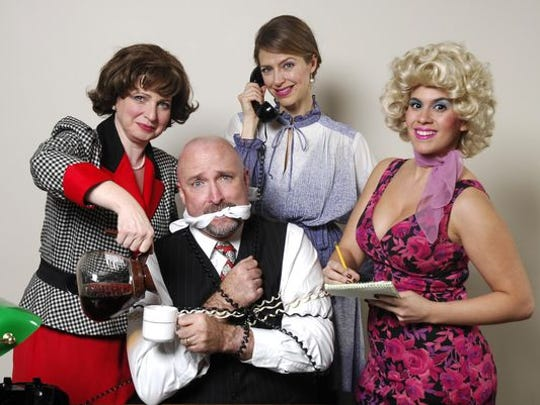 """Three secretaries, played by (left to right) Nancy Feldman, Sky Spiegel Monroe and Jenna Rose, exact revenge on their sexist boss (Tom Schopper) in """"9 to 5: The Musical."""""""