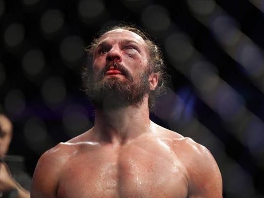 Josh Samman reacts after his fight against Tim Boetsch,