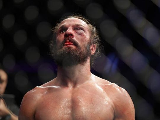 Josh Samman reacts after his fight against Tim Boetsch,