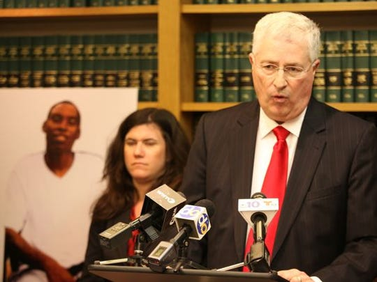 "Attorney Thomas Neuberger (right) during a press conference earlier in this year announcing a lawsuit had been filed for ""the tragic and unnecessary death of Jeremy McDole."""