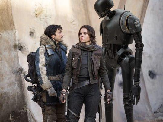 """The main characters in """"Rogue One: A Star Wars Story"""" are, from left, Cassian Andor (Diego Luna), Jyn Erso (Felicity Jones) and K-2SO (Alan Tudyk)."""
