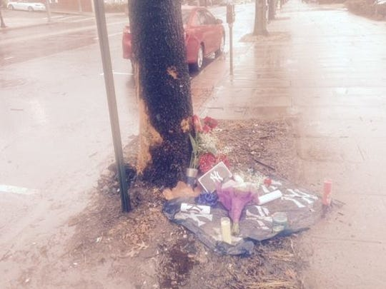 A makeshift memorial has been set up at the spot where