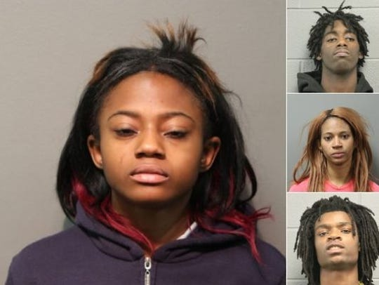 The four suspects, clockwise from left: Brittany Covington,