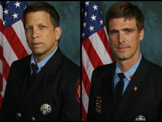 Wilmington firefighters Jerry Fickes (left) and Christopher Leach are shown in a composite image. They were killed Sept. 24 fighting the fire in Canby Park that also eventually took the life of Ardythe Hope.