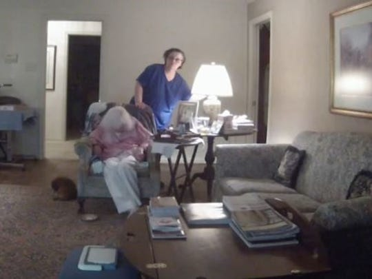 Police near Houston are looking for a health care provider, who has been reportedly spotted in Lafayette, who was caught on a webcam hitting the elderly woman she was supposed to be caring for.