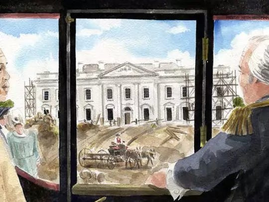 """George Washington and William Lee oversee the construction of the White House in this illustration from """"Colonel Washington and Me,"""" a book by Jeff Finegan about the relationship between Washington and Lee, a slave who served as his valet."""