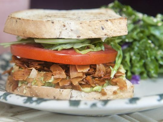 The Heart Beet BLT substitutes toasted coconut 'bacon' for the real deal, and is a favorite at the cafe.