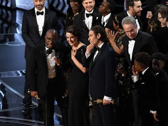 'Moonlight' team celebrates win for best picture at 89th Academy Awards.