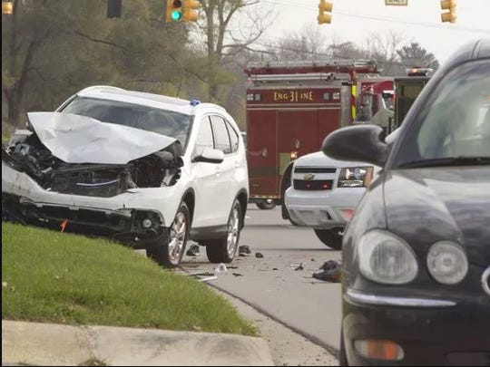A good Samaritan, identified as Christopher Alvarado, was struck by a 2014 Honda CR-V as he pushed a disabled Buick LaCrosse from Grand River Avenue to a Subway parking lot in Genoa Township on Tuesday, Nov. 15.