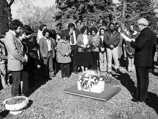 About 50 people gathered to bury Andrew John Doe, an infant found in a ditch early March 1981.