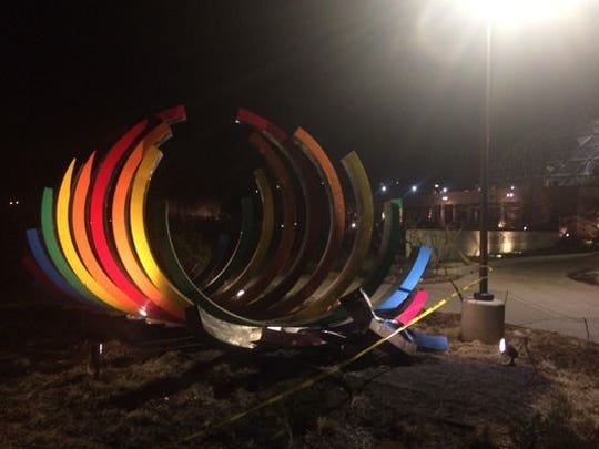 """A vehicle crashed into the Des Moines Botanical Garden's multicolored arch sculpture Monday evening, causing """"significant damage."""""""