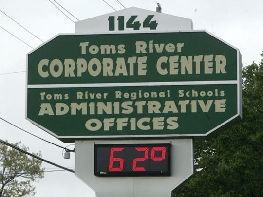 The road sign at 1144 Hooper Avenue in Toms River, home of the central administrative offices of the Toms River Regional School District.