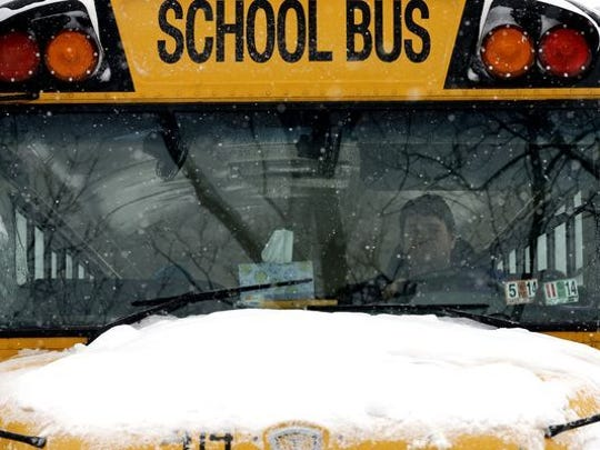 School bus in the snow.