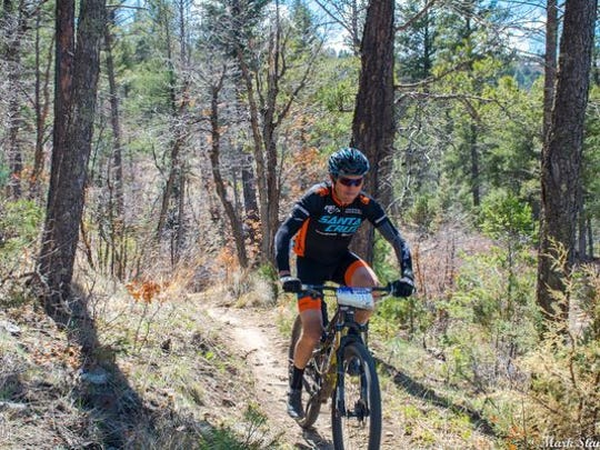 Professional mountain biker is seen here at the 2016 12 Hours in the Wild West mountain Bike Endurance Race.