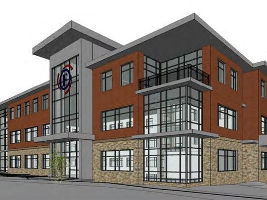 The rendering of the new Forward Financial Bank headquarters building in downtown Marshfield.