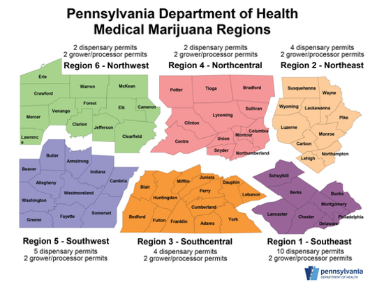 Pennsylvania Department of Health Medical Marijuana Regions