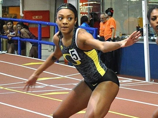 Olympian Deajah Stevens, shown during a relay at The Armory, will compete in the 60 dash at Saturday's Millrose Games. Stevens , a professional who competed for the University of Oregon, ran for both Mount Vernon High School and New Rochelle High School.