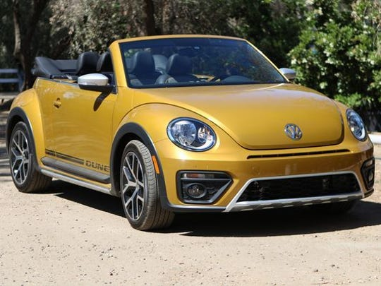 A 2017 Volkswagen Beetle, Dune edition.