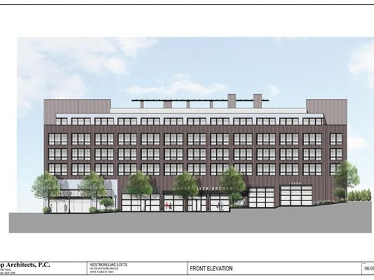 A rendering of apartment building, market and microbrewery on Westmoreland Avenue.