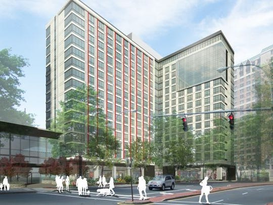 The first of two residential towers at 55 Bank St. is expected to begin renting apartments in January.