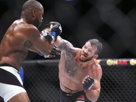 Ryan Bader shown fighting Anthony Johnson in 2016.  Bader will face Phil Davis on Saturday in New York in Bellator 180.