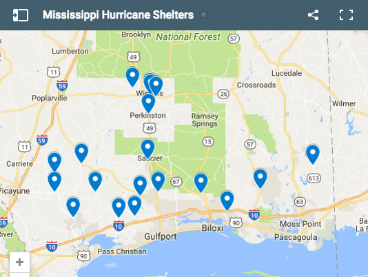 Mississippi Hurricane Shelters
