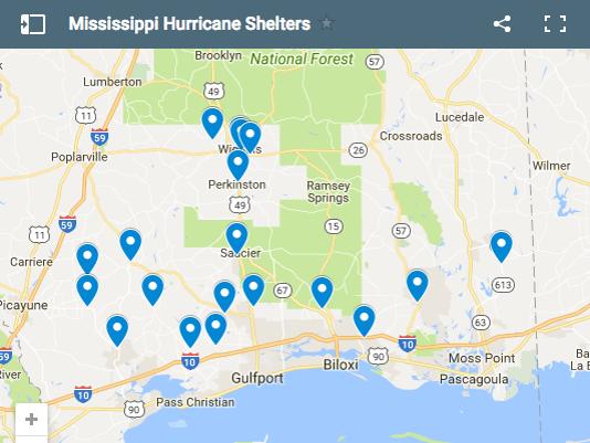 Mississippi Hurricane Shelters