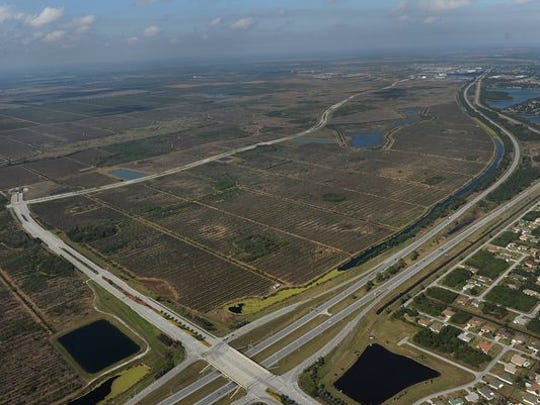 Aerial view looking northwest of the Southern Grove property in Tradition, Port St. Lucie, Village Parkway and Becker Road and Interstate 95.