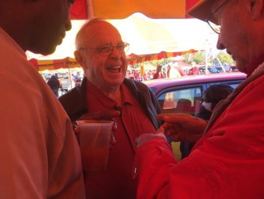 Former Iowa State coach Earle Bruce during a visit