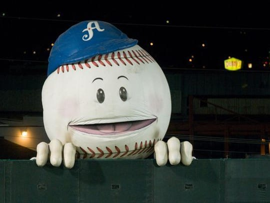 A file photo of the giant, inflatable baseball at a Reno Aces game at Greater Nevada Field in Reno.