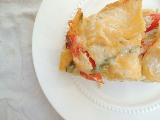 Chicken veggie enchilada casserole