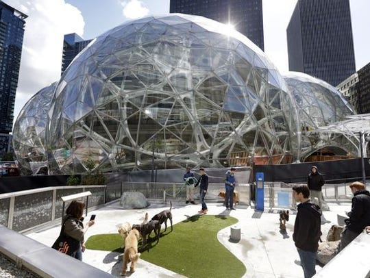 Three giant glass spheres are being added to Amazon's