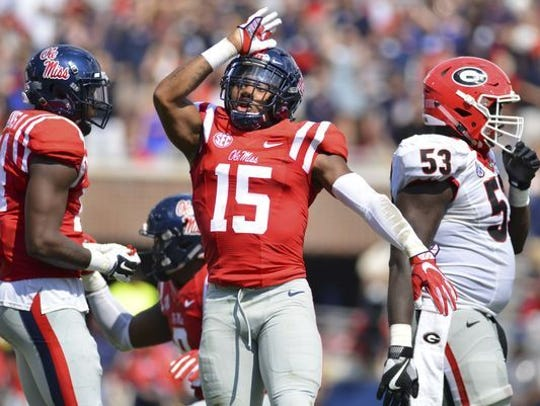 Ole Miss defensive back Myles Hartsfield gives the