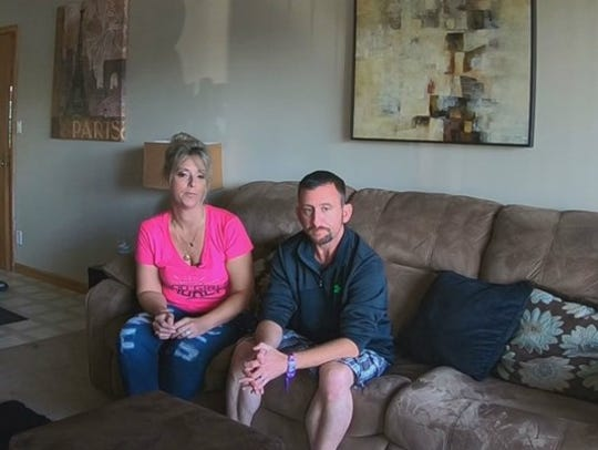 Dawn-Marie and Kevin Gray took cover inside a VIP area
