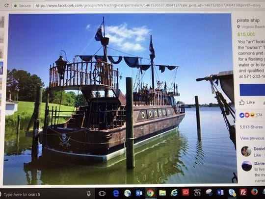 "A Virginia Beach man is offering a ""pirate ship"" for"