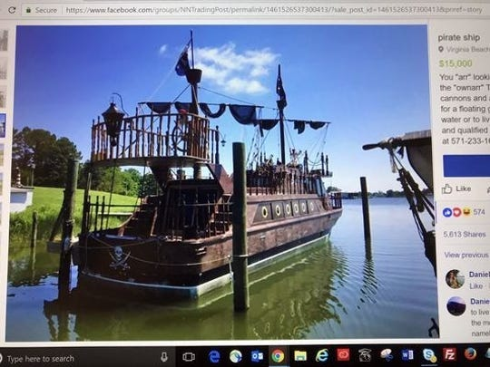 "A Virginia Beach man is offering a ""pirate ship"" for sale."