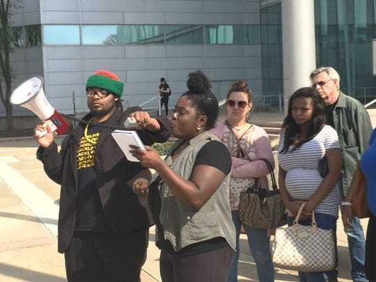 April Grant, a Black Lives Matter activist from Camden, speaks in Trenton April 11 about Marshall Zamor, who died while in custody of the New Jersey State Police.