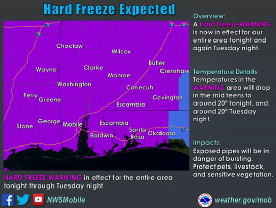 A hard freeze warning was issued for Florida's Escambia