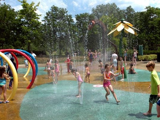 The sprayscape in Plymouth Township Park is a popular summer attraction.