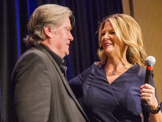 Steve Bannon and Kelli Ward, at her campaign kickoff