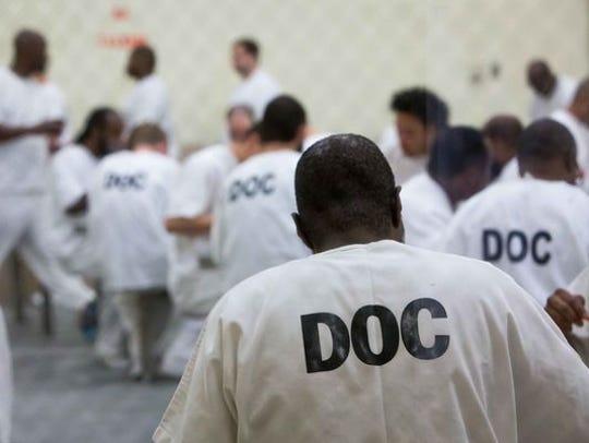 Inmates at the James T. Vaughn Correctional Center