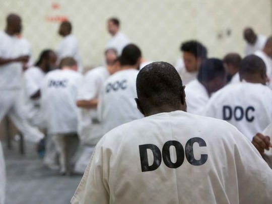 Inmates at the James T. Vaughn Correctional Center near Smyrna.
