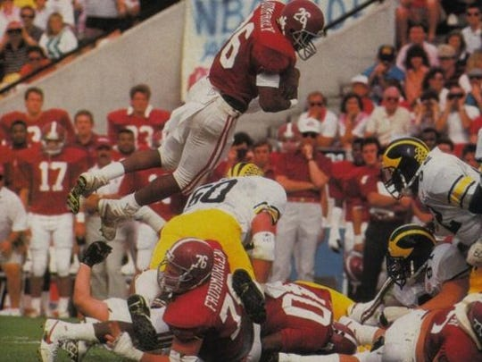 Bobby Humphrey ran for 3,420 yards in his career at Alabama (1985-88) before becoming an NFL first-round pick in the 1989 supplemental draft.